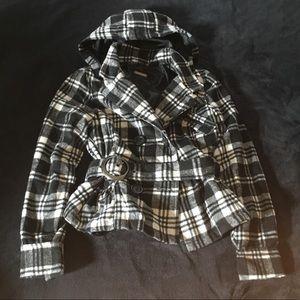 Plaid Hooded Pea Coat !